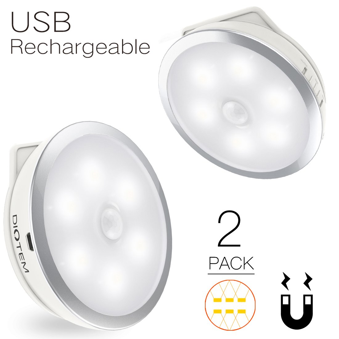 Motion Sensor Light, Diotem Rechargeable Motion Sensor Light usb Rechargeable, 2Pack 3Models Motion Light Sensor Light for Hallway/Bedroom/Closet,/Stairs,5 Installation Methods