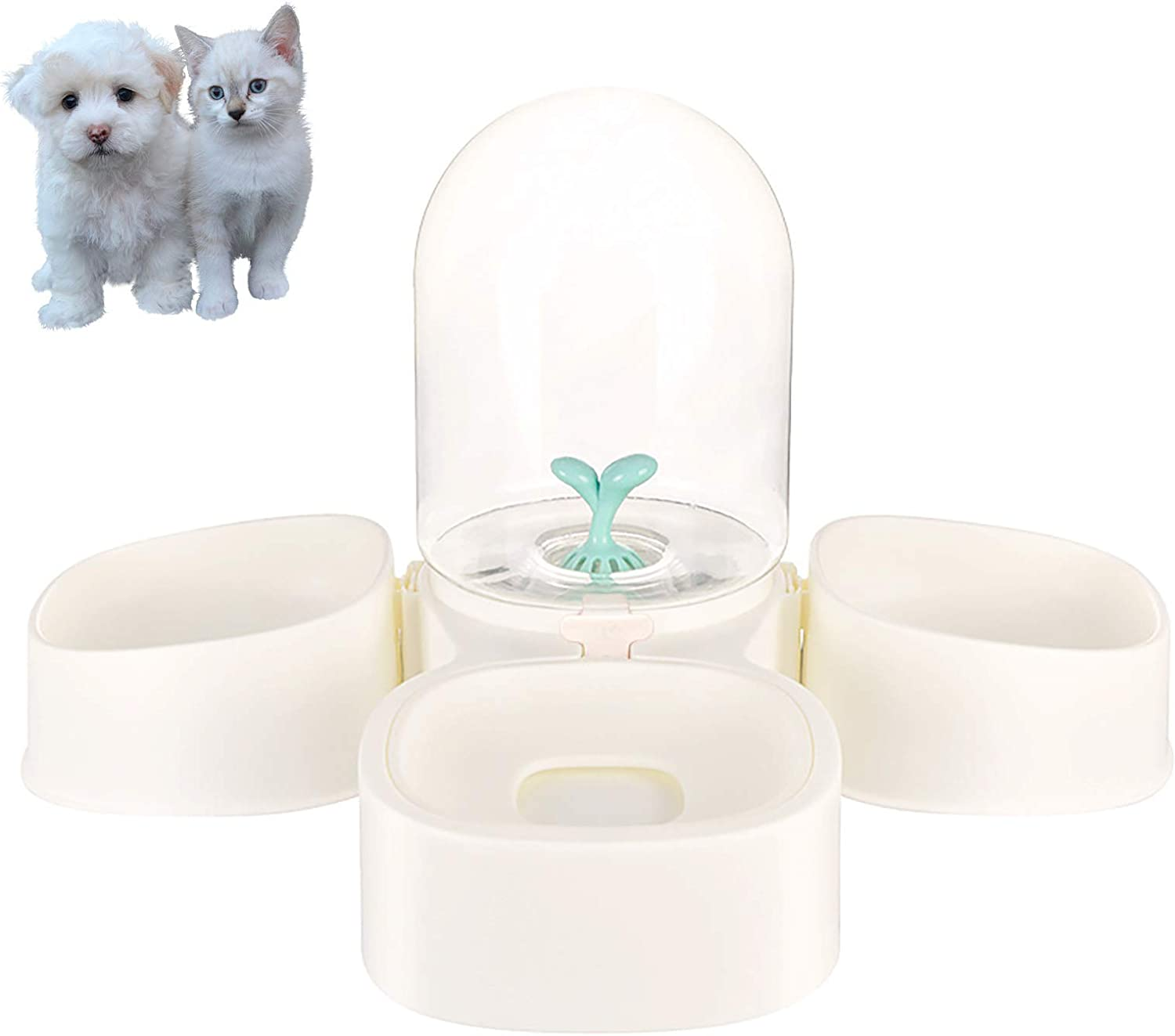 PetEiZi 2 in 1 Double Pet Cat Food Feeder Bowls 2.0L Large Automatic Unplugged Dog Water Dispenser Detachable No-Spill for Cats and Small Puppy Dogs