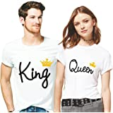 Hangout Hub Cotton Couple Tshirts King Queen with Golden Crown Printed White Color for Men Women (Set of 2)