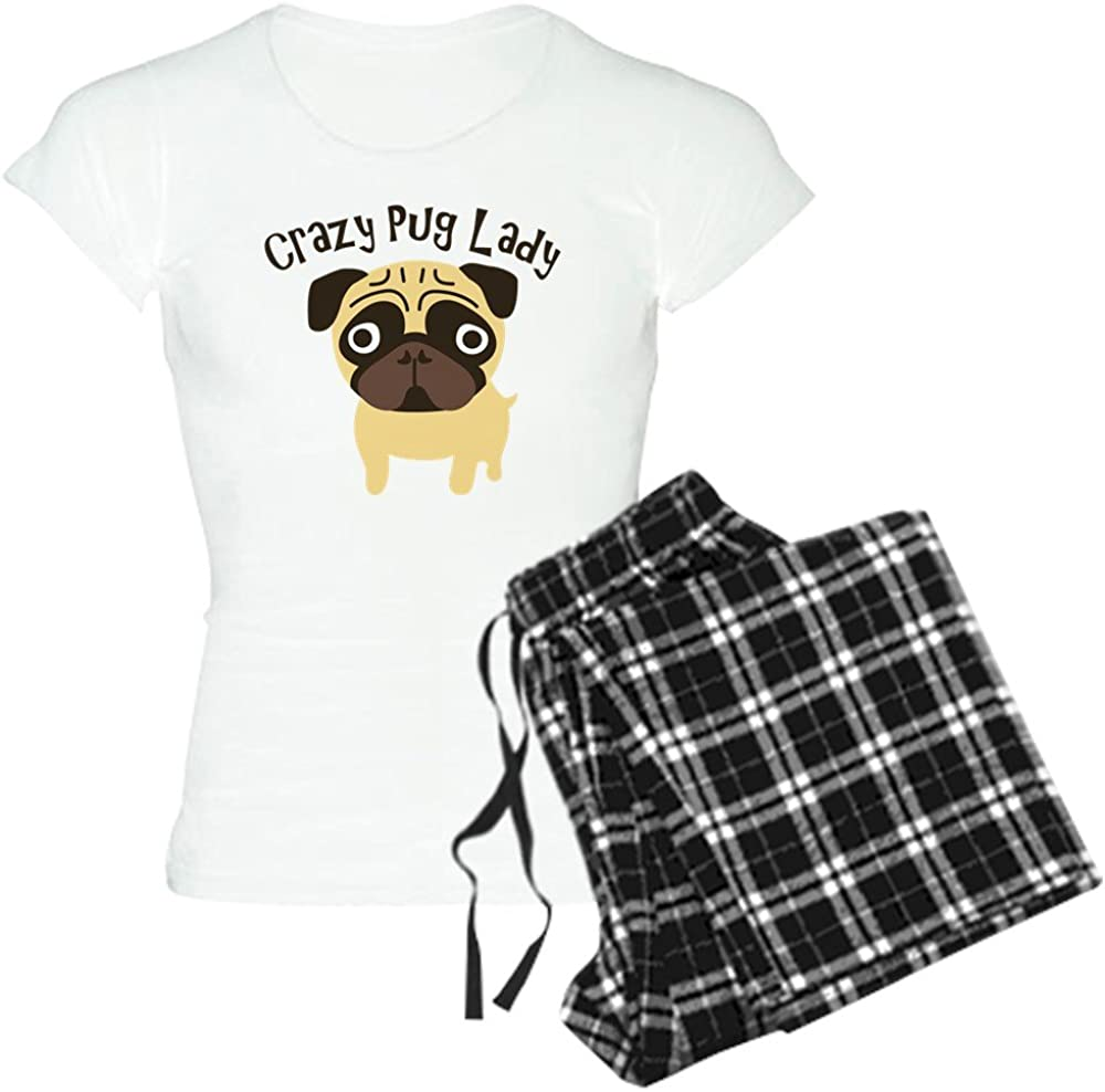Comfortable PJ Sleepwear CafePress-Crazy Pug Lady-Womens Novelty Cotton Pajama Set
