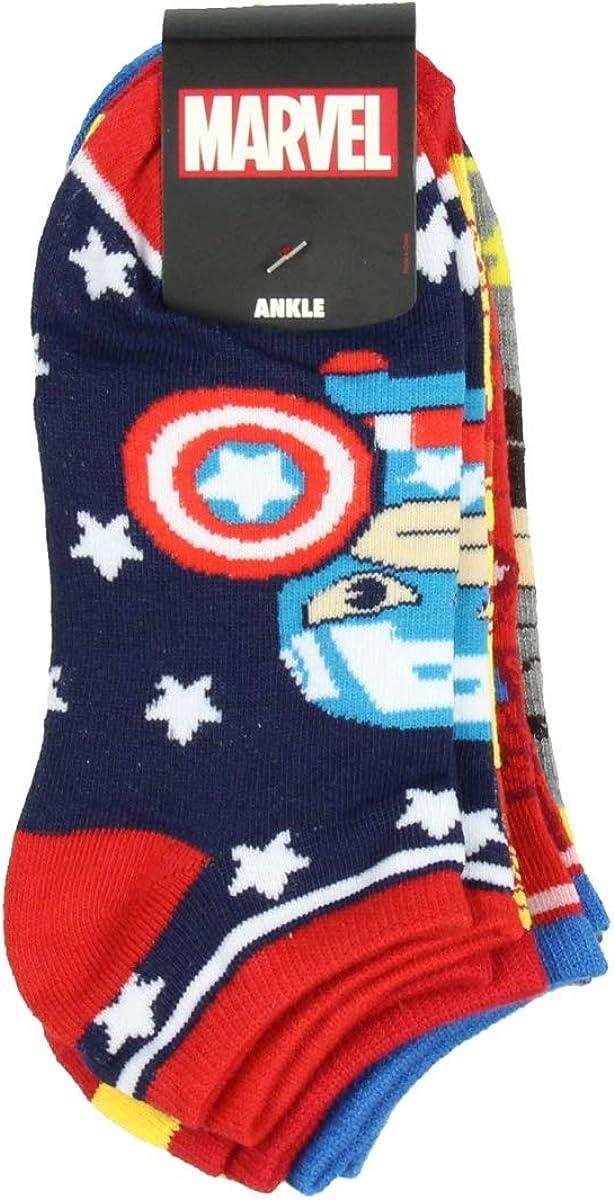 bioworld Marvel Avengers Chibi Superhero Characters Ankle No Show Socks 5 Pair