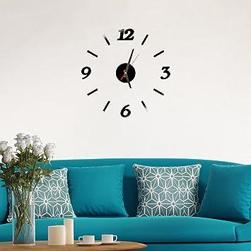 Exteren Reloj de pared moderno para salón o sala de estar, diseño de espejo: Amazon.es: Hogar