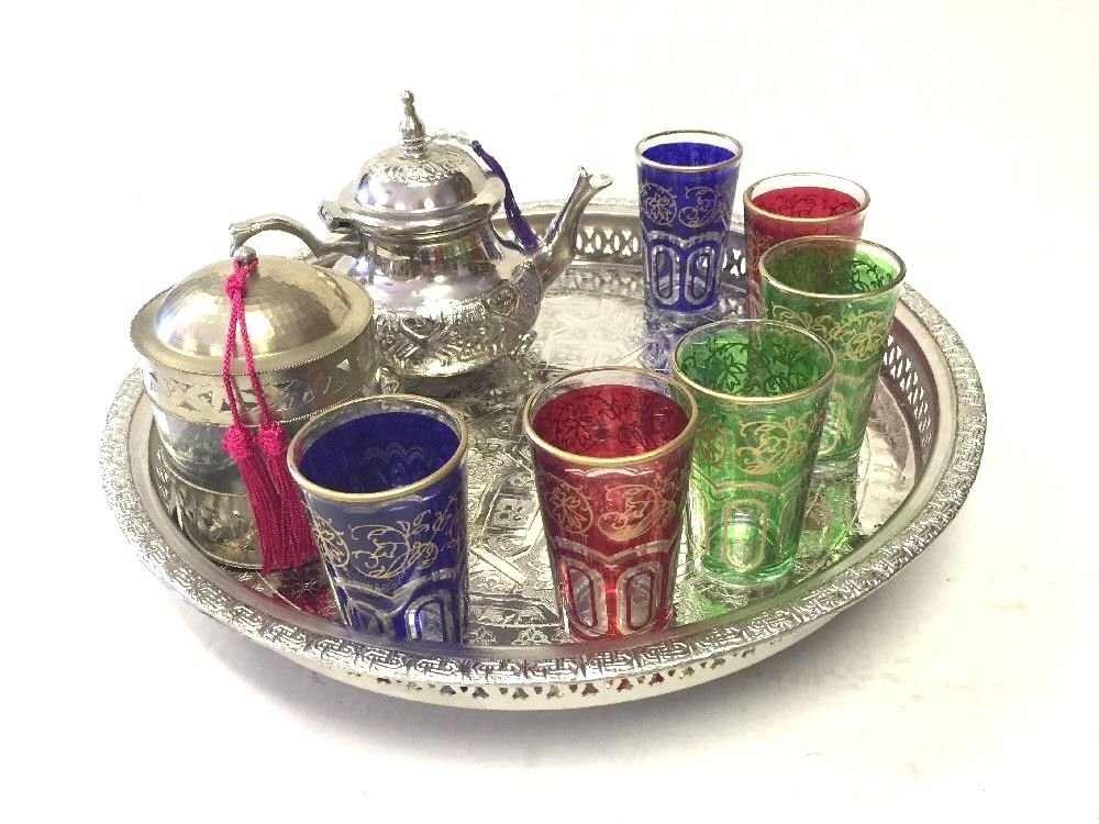 Mint Tea Set Moroccan Casablanca Tea set Moroccan Teapot 6 Tea Glasses Cup