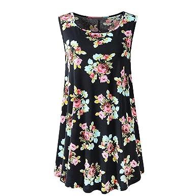 e876ab6e6a055 Ouneed- Women Sleeveless O-Neck Rose Floral Print Casual Summer Blouse Tops  T-Shirt: Amazon.co.uk: Clothing