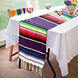 AYUQI Mexican Serape Blanket Table Runner, Elegantly Handwoven Fringe Mexican Party Wedding Decorations Cotton Table Runner(84inX14in)