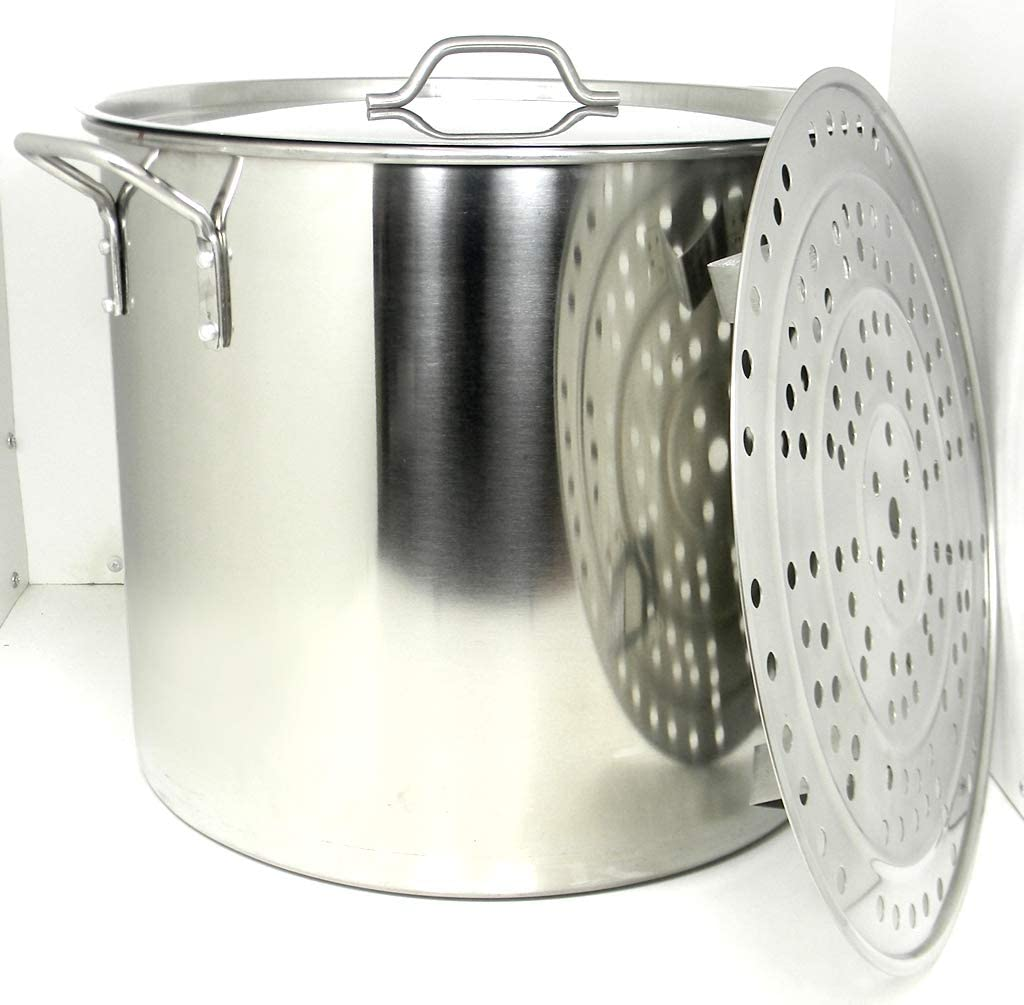 100 Quart Stainless Steel Stock Pot with Rack & Lid