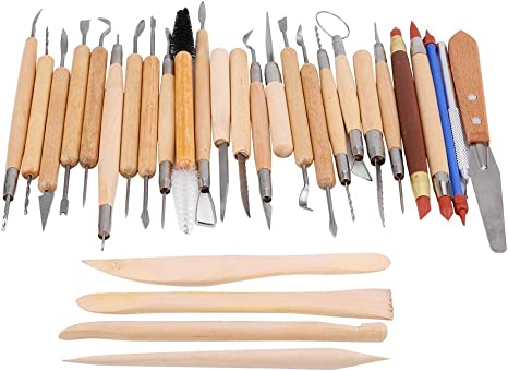 LEADSTAR Clay Tools Set Pottery Tools 30 Pieces Ceramic Clay Pottery Sculpting Carving Tool Set for Pottery Rock Painting Mandala Art Shaping Modeling Embossing Set Handmade Clay Sculpture DIY