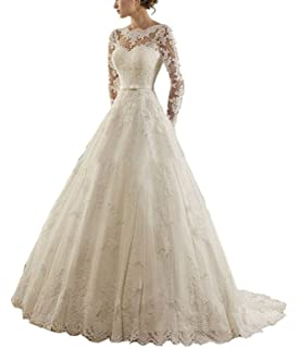 6900492486 APXPF Women s Long Sleeves Wedding Dress Backless Lace Tulle Bride Gowns