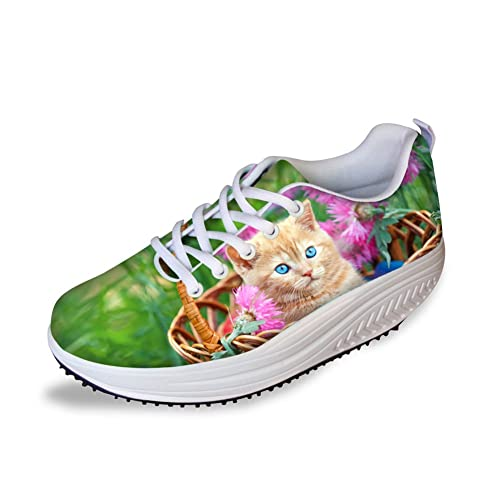 99fcfc341c6d8 FOR U DESIGNS Cute Animal Cat Print Swing Fitness Walking Sneaker Casual  Women's Wedges Platform Shoes