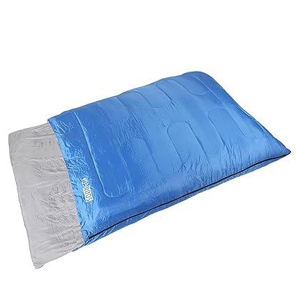 Soongo - Saco de dormir de adulto doble para senderismo y camping, color azul