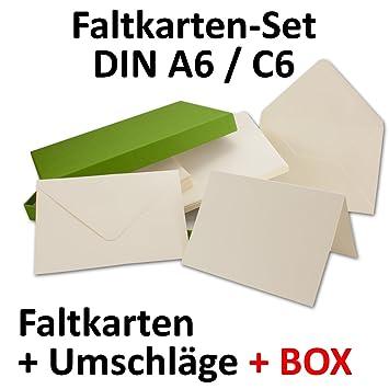 Doppelkarten Inklusive Briefumschläge Mit Geschenkschachtel! | 50er Set |  Blanko Naturweiß Einladungskarten In Creme