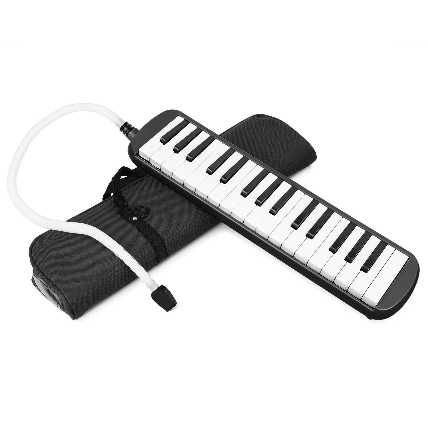 Flexzion Melodica 32 Piano Keys - Melodica Keyboard with Mouthpiece Tube, Portable Musical Instrument Pianica Melodicas Piano Style with Carrying Bag (32 Key) (Black)