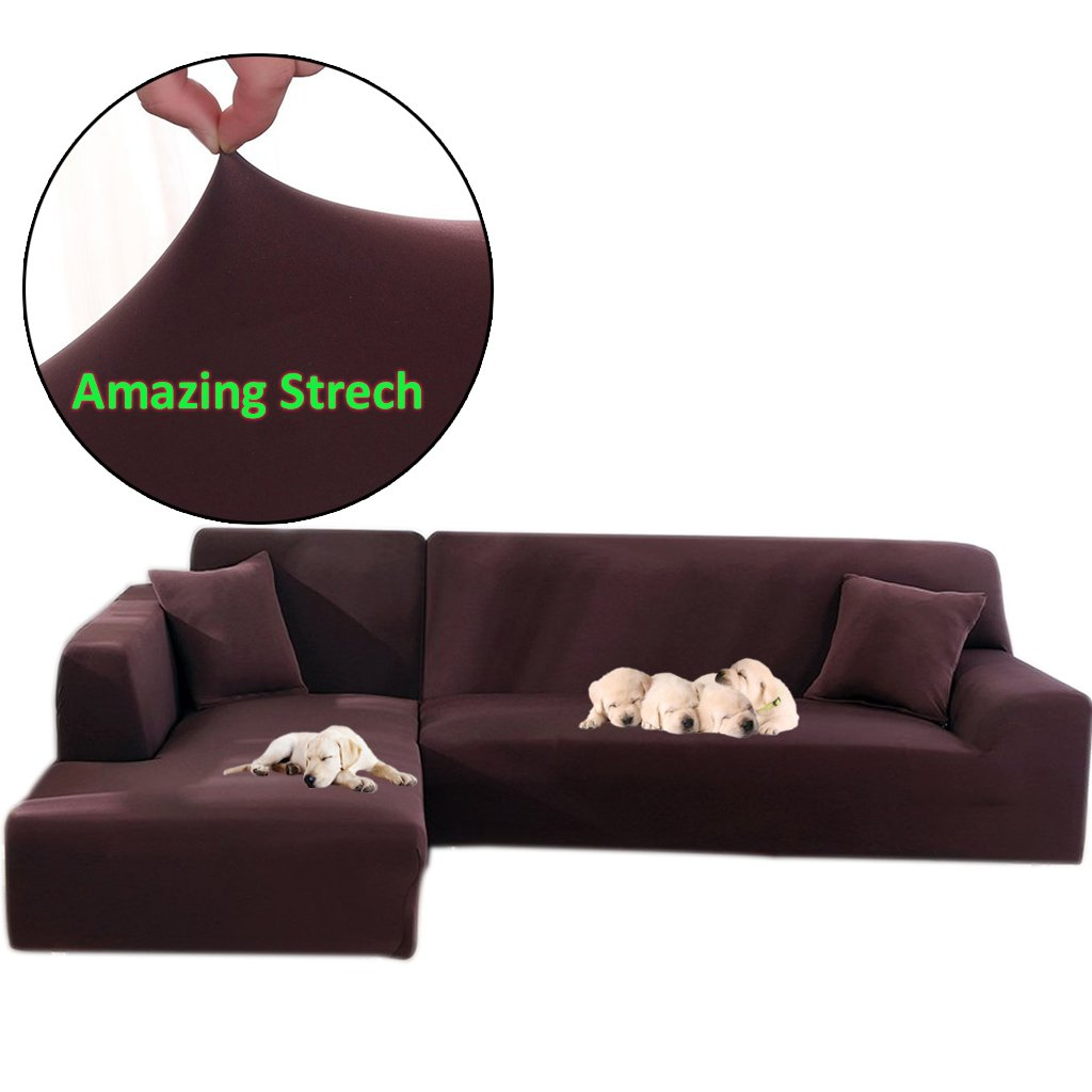 Taiyucover Stretch L-Shaped Sofa Slipcover;2PCS Sectional Sofa Cover; Furniture Protectors for Living Room L-Shape Couch (Coffee, L-Shaped(2 Seater+2 Seater))