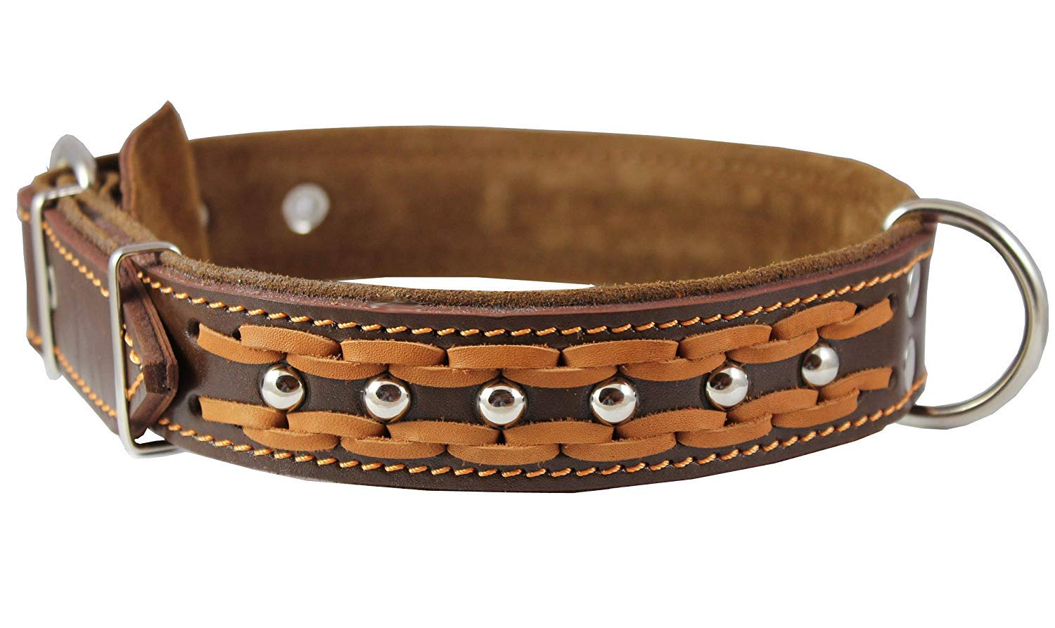Genuine Leather Braided Studded Dog Collar Brown 1.6 Wide. Fits 19-24 Neck Large.