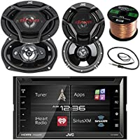 JVC KWV620BT 6.8 Touch Screen Car CD/DVD Bluetooth Receiver Bundle Combo With 2x Dual 6.5 2-Way And 2x 6x9 Inch 4-Way Audio Coaxial Speakers + Enrock 22 AM/FM Antenna + 50 Ft 16g Speaker Wire