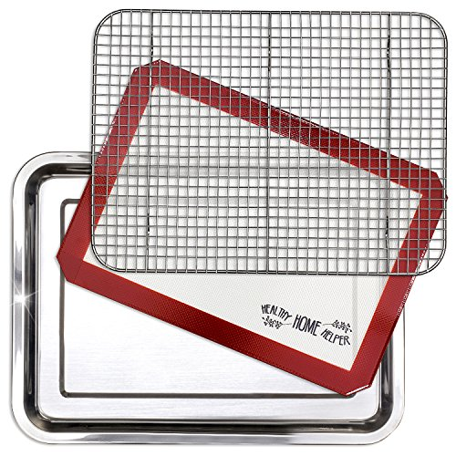 Stainless Steel Sheet Pan 15.5 x 11.5 inch Cooling Rack & Silicone Baking Mat Set - Extra Durable Cookie Sheet, Oven Safe non-toxic Heavy Duty Bake ware. for Roasting Bacon, Vegetables, and Cake. (Best Pan To Cook Bacon)