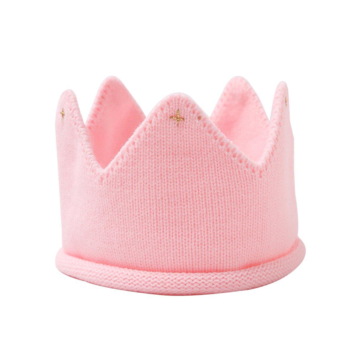 Cappello maglia corona OULII Cappellino principessa per bambine e neonate in maglia Rosa