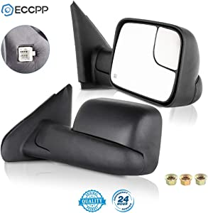 ECCPP Towing Mirrors fit 02-08 Dodge Ram 1500 03-09 Dodge Ram 2500 3500 Pickup Truck Power Heated Tow Folding Side View Black Mirror Pair Set Right Passenger and Left Driver Side 02 03 04 05 06 07 08