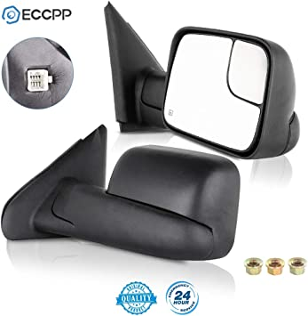 Pair Tow Side Mirror Power Heated Set For Dodge Ram 02-08 Pickup Towing Mirrors