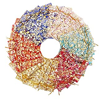 SumDirect Rose Print Mixed Color Organza Gift Bags, Wedding Favor Party Jewelry Candy Pouches, 4x4.7 Inches, Pack of 60