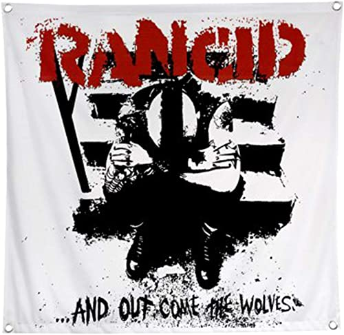 King s Road Rancid and Out Come The Wolves Fabric Poster Flag White