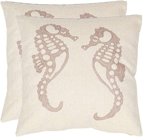Safavieh Pillow Collection Majestic Seahorse 18-Inch Cream and Taupe Embroidered Decorative Pillows, Set of 2