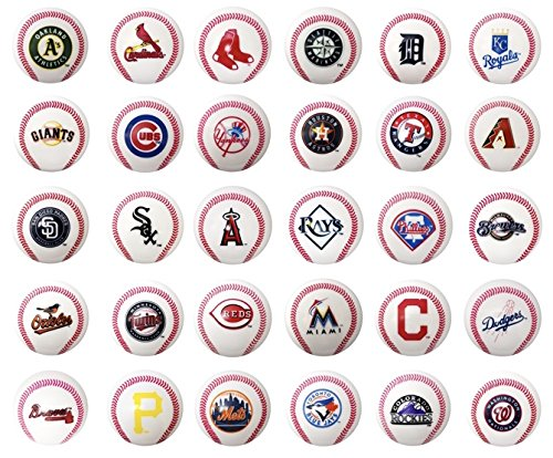 fb Set of 30 Major League Baseball Mini Baseballs. MLB Complete Set Team Logos. Cake Toppers.