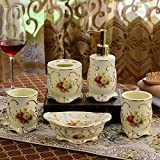 GTVERNH-Recipients Of Gifts Ceramic Wash Kit Wedding Gifts Bathroom Amenities The Mouthwash Cup Ceramic Bath 5 Piece Set