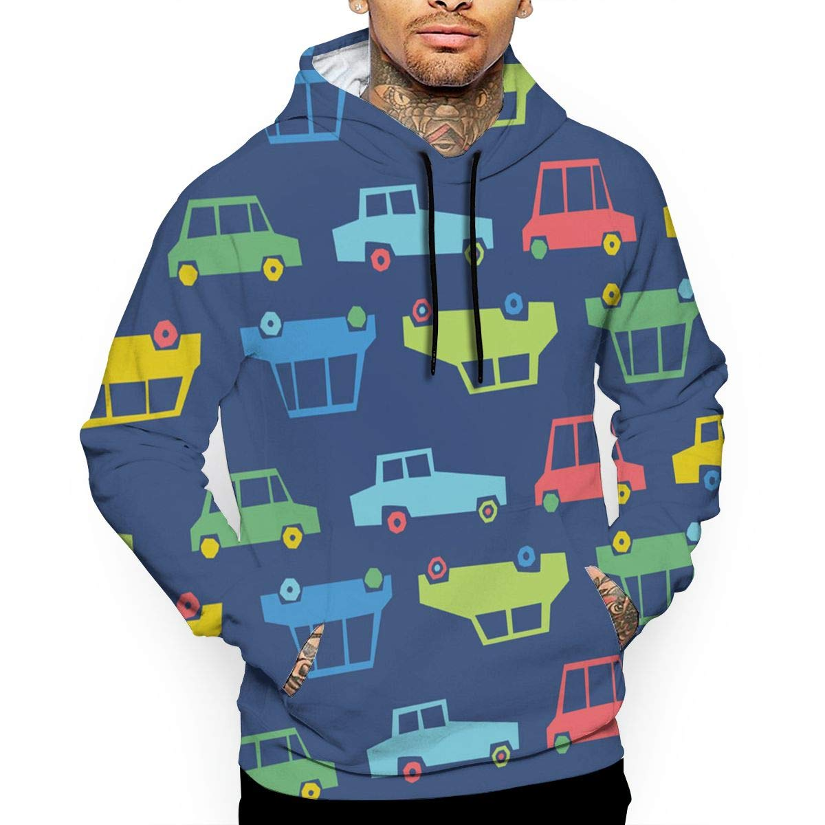 Colorful Cars T-Shirt Hooded with A Pocket Rope Hat Customization Fashion Novelty 3D Mens