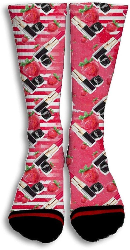 Strawberry Lipstick Cute Funny Custom Creative Sport 3D Printed Crew Socks