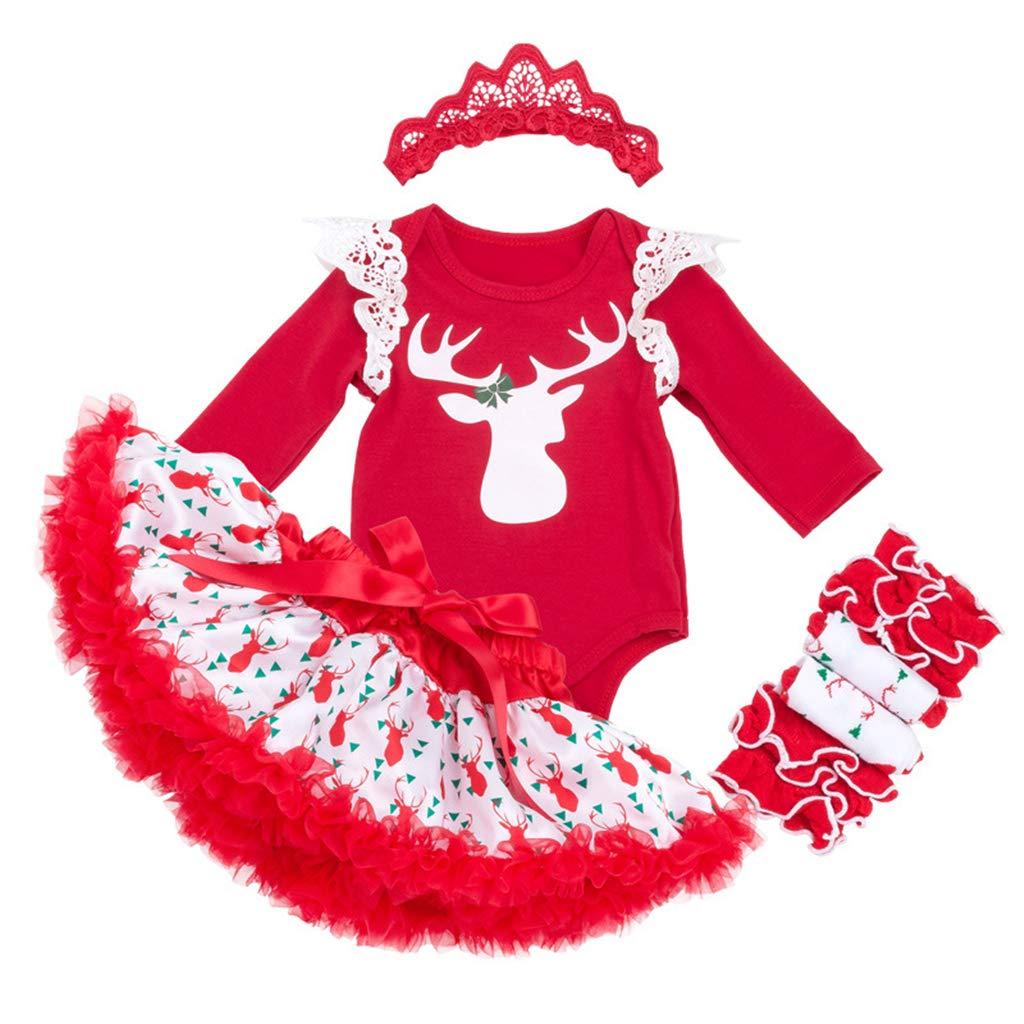 Bebé Conjunto de Trajes 4 Piezas Navidad Body de Manga Larga Tutú Vestido con Venda con Venda Leggings Trajes 0-3 Meses ShenzhenWindyTradingCo. Ltd