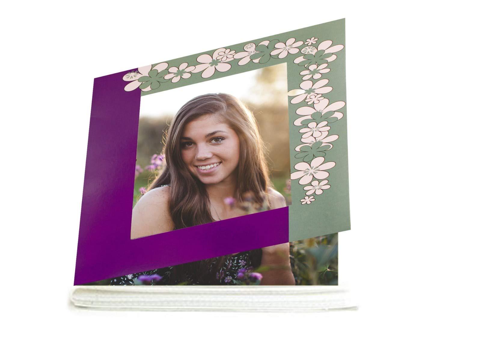 KVD Albums Mini 4x6 Photo Album Brag Book, Various Exquisite Colors and Themes, Durable, Flexible, Holds 36 4 x 6 Photos. Purple/Green Floral by KVD Albums (Image #2)