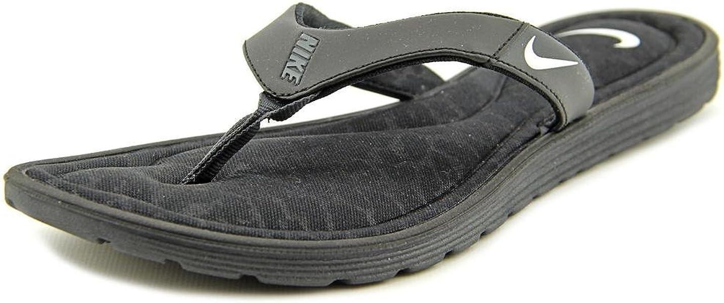 d9d8184df8fa Nike Women s Solarsoft Comfort Flip-Flops Black Anthracite White Size 7 ...