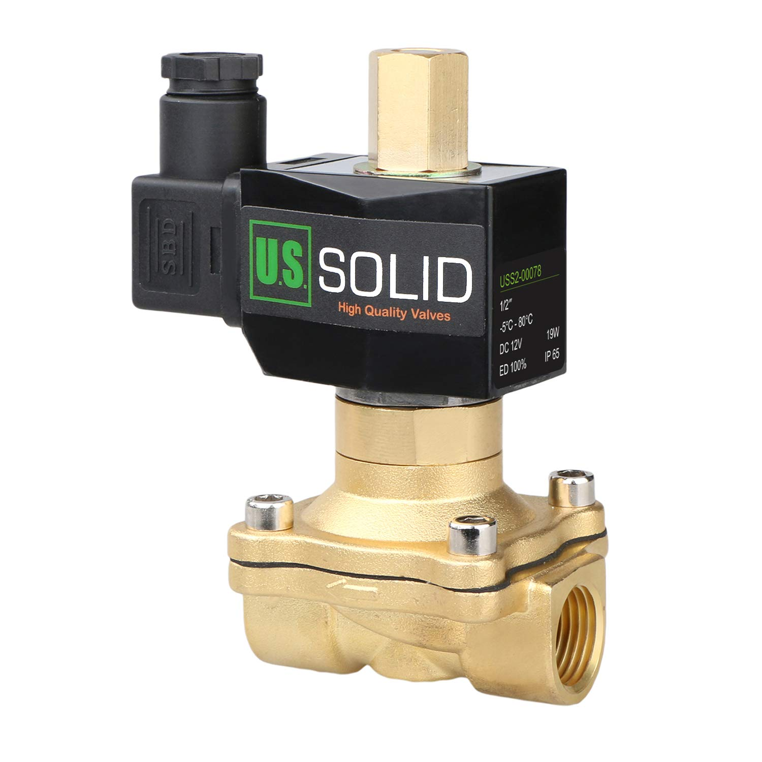 1/2'' Brass 12V DC Electric Solenoid Valve Normally Open Air Water NBR by U.S. Solid