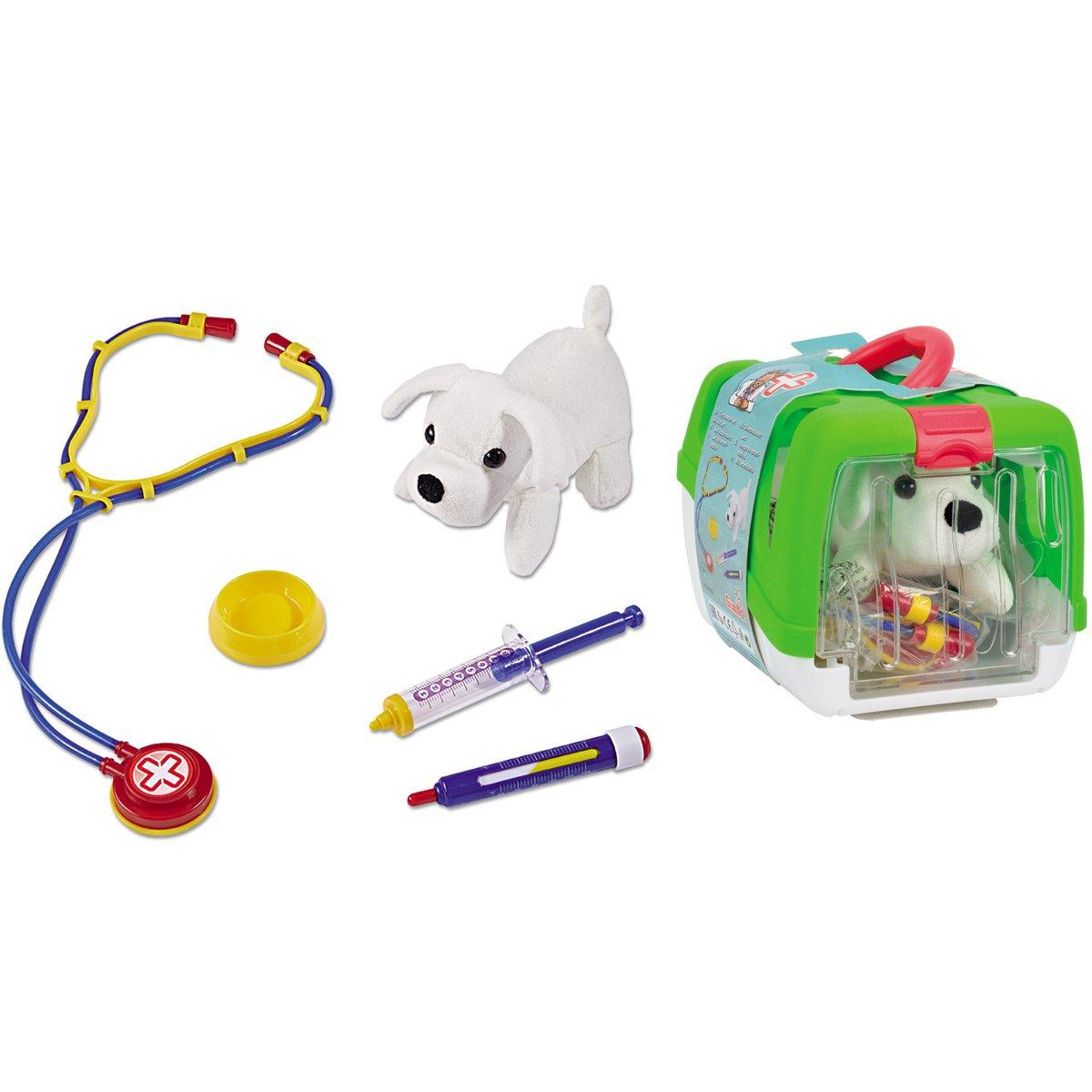 19 cm /• Tierarzt Koffer Zubeh/ör Hundedoktor Arzt Tierarztkoffer Kinder Spielzeug Arztkoffer #0618 Doktorkoffer mit Hund und Zubeh/ör