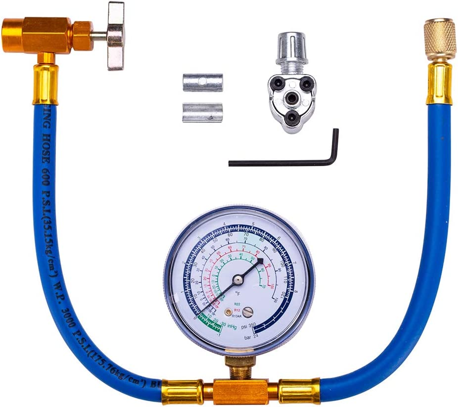 BPV31 Piercing Tap Valve Kits - Piercing Valve with R134a Charging Hose Can Tap with Gauge Recharging Hose Kit Connect Can of R134a, R-12/R-22 Refrigerant Port