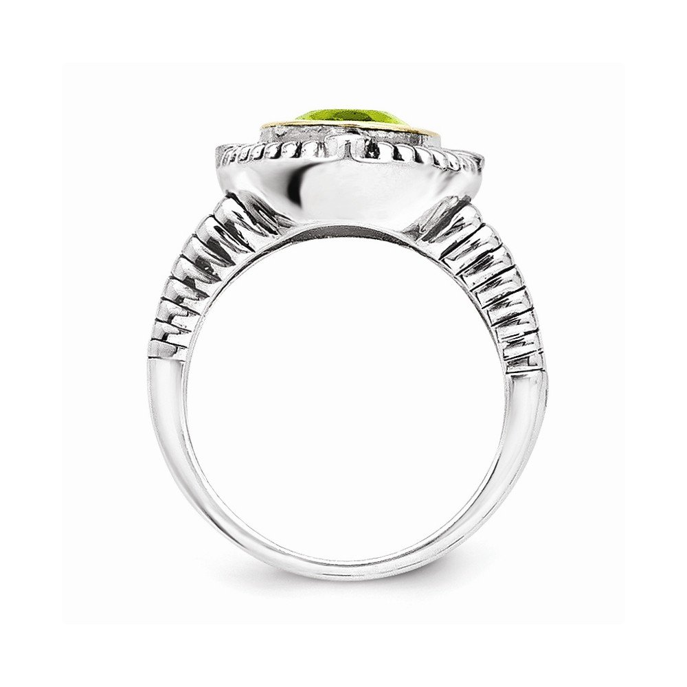Sterling Silver with 14k 2.82Peridot Ring
