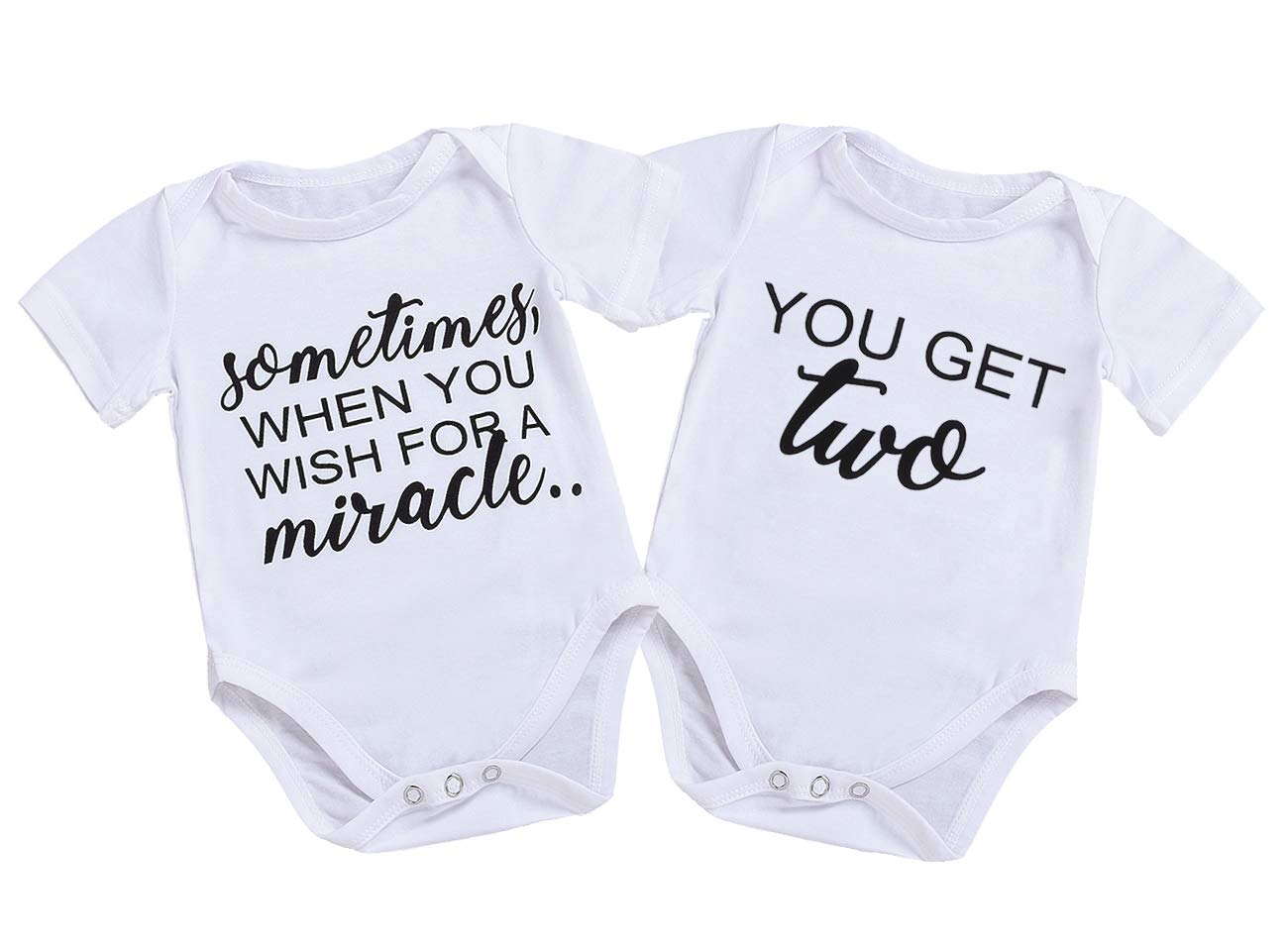 Mini honey Infant Twins Baby Boys Girls Short Sleeve Letter Print Romper Bodysuit Summer Outfit Clothes (3-6 Months, Sometimes)