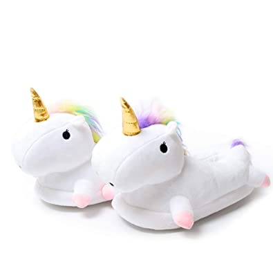 fad00f5d2ef8 Zombie Plush Slippers Halloween Wacky Soft Baggy Womens Fluffy Slippers  House Slippers (Unicorn)