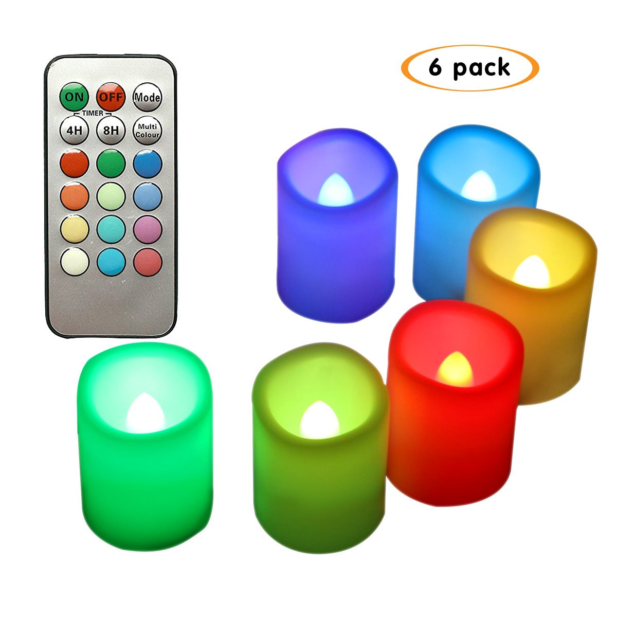Realistic Flickering Flameless Votive Candles, Color Changing Night Light Timer and Remote Control Candles Set of 6 Bnlingxian