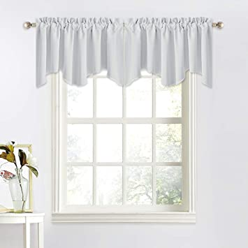NICETOWN 4 Panels of Home Decoration Scalloped Window Valances for Kitchen