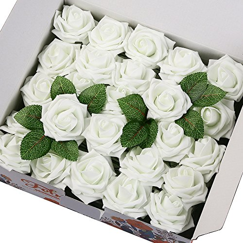 Febou Artificial Flowers, 50pcs Real Touch Artificial Foam Roses Decoration DIY for Wedding Bridesmaid Bridal Bouquets Centerpieces, Party Decoration, Home Display (Delicate Type, White)