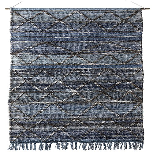 2.5' x 5' Soft Slate and Pale Baby Gray Blue and Artic White Hand Woven Hanging Wall Decor by Diva At Home (Image #1)