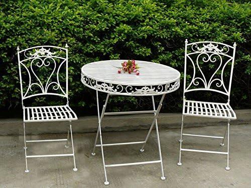 MAXIOCCASIONI Conjunto Mesa y 2 sillas de jardín de Hierro Blanco: Amazon.es: Hogar