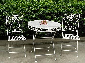 MAXIOCCASIONI Conjunto Mesa y 2 sillas de jardín de Hierro Blanco ...