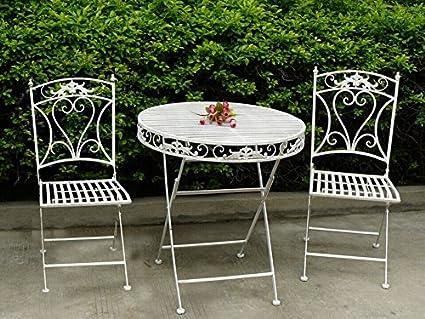 Sedie Da Giardino In Ferro : Set tavolo e sedie da giardino in ferro bianco amazon casa