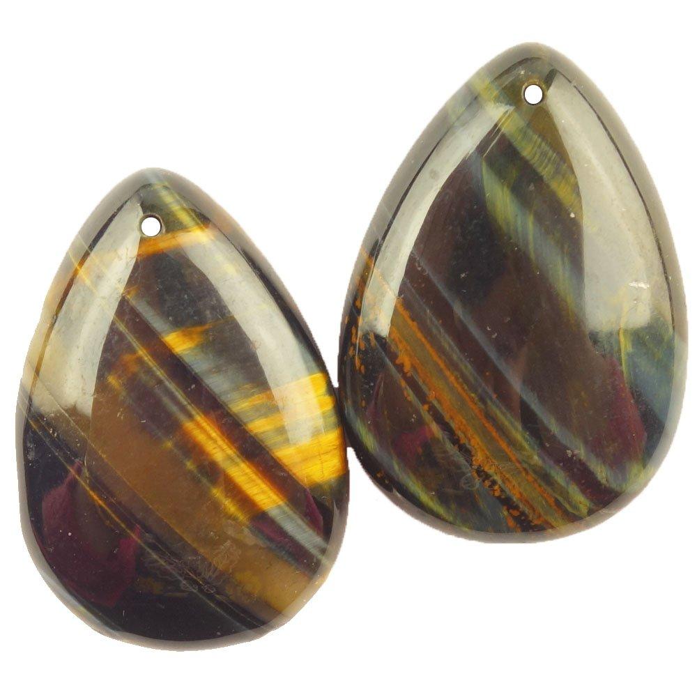 Tiger Eye Gem Teardrop Pendant Bead 45x30x5mm 2 pieces//lot yuteng jewelry Teng Yu