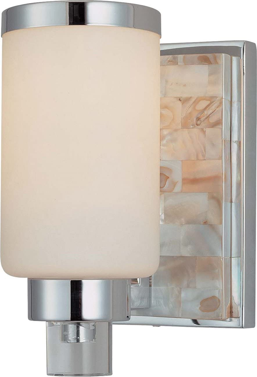 Minka Lavery Wall Sconce Lighting 3241-77, Cashelmara Glass Damp Bath Vanity Fixture, 1 Light, 100 Watts, Chrome