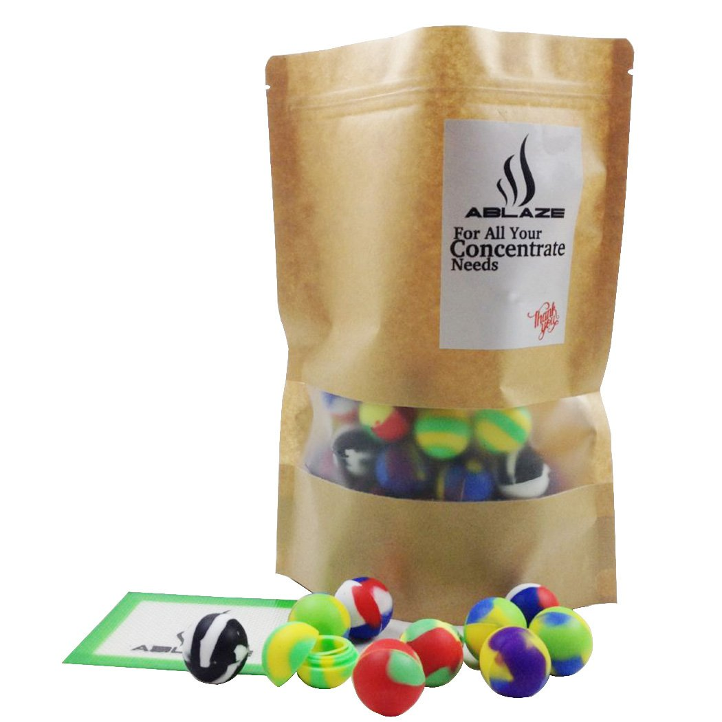ABLAZE 50 Pcs Silicone Ball Wax Container Bulk Shatter Concentrate Nonstick Non Stick Jar 5ml