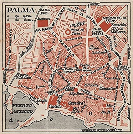Palma De Mallorca Vintage Town City Map Plan Spain Majorca 1930